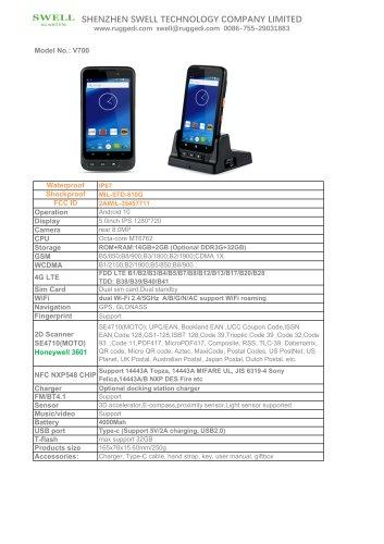 SWELL V700 V780 rugged handheld terminal FCC CE