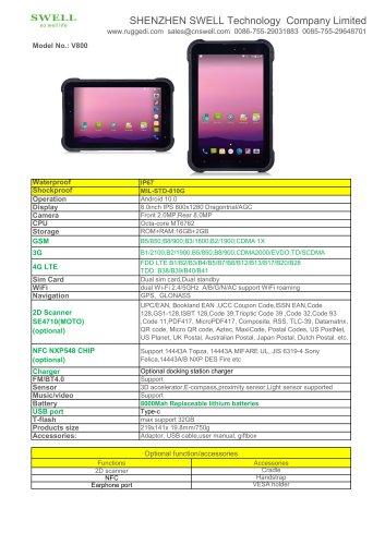 SWELL V800 PDA Computer