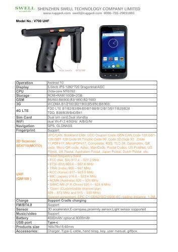 V700 UHF handheld data terminal