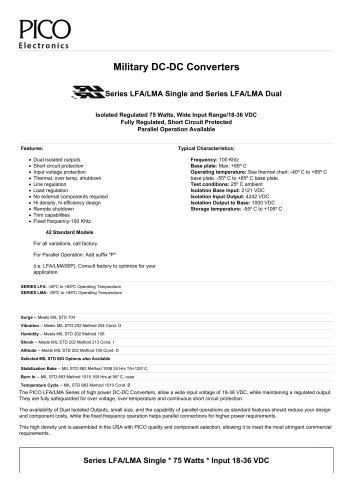 Series LFA/LMA  Military DC-DC Converters