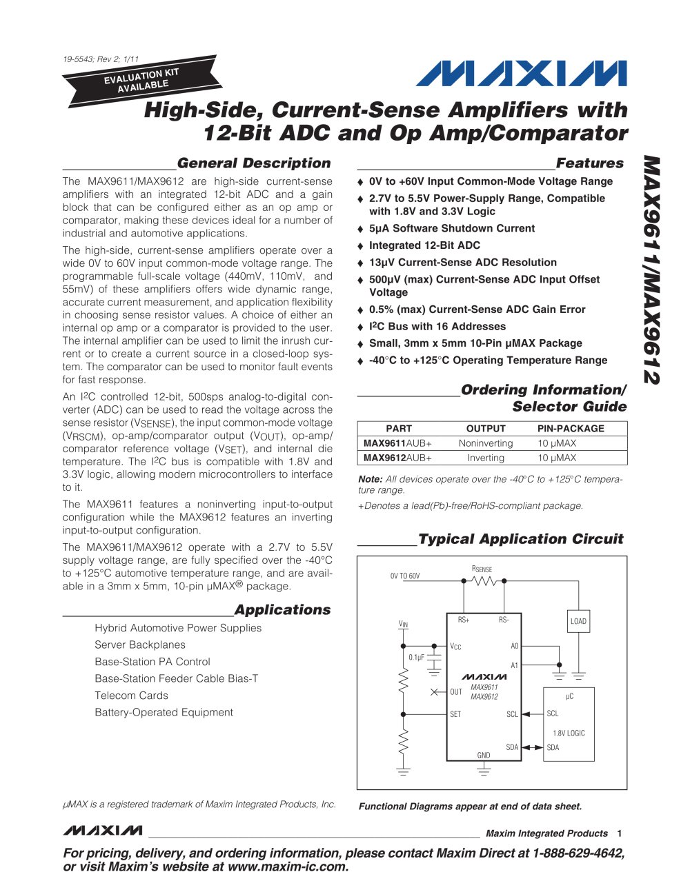 High Side Current Sense Amplifiers With 12 Bit Adc And Op Amp Links Voltage Comparator Circuit Max9611 Max9612 1 20 Pages