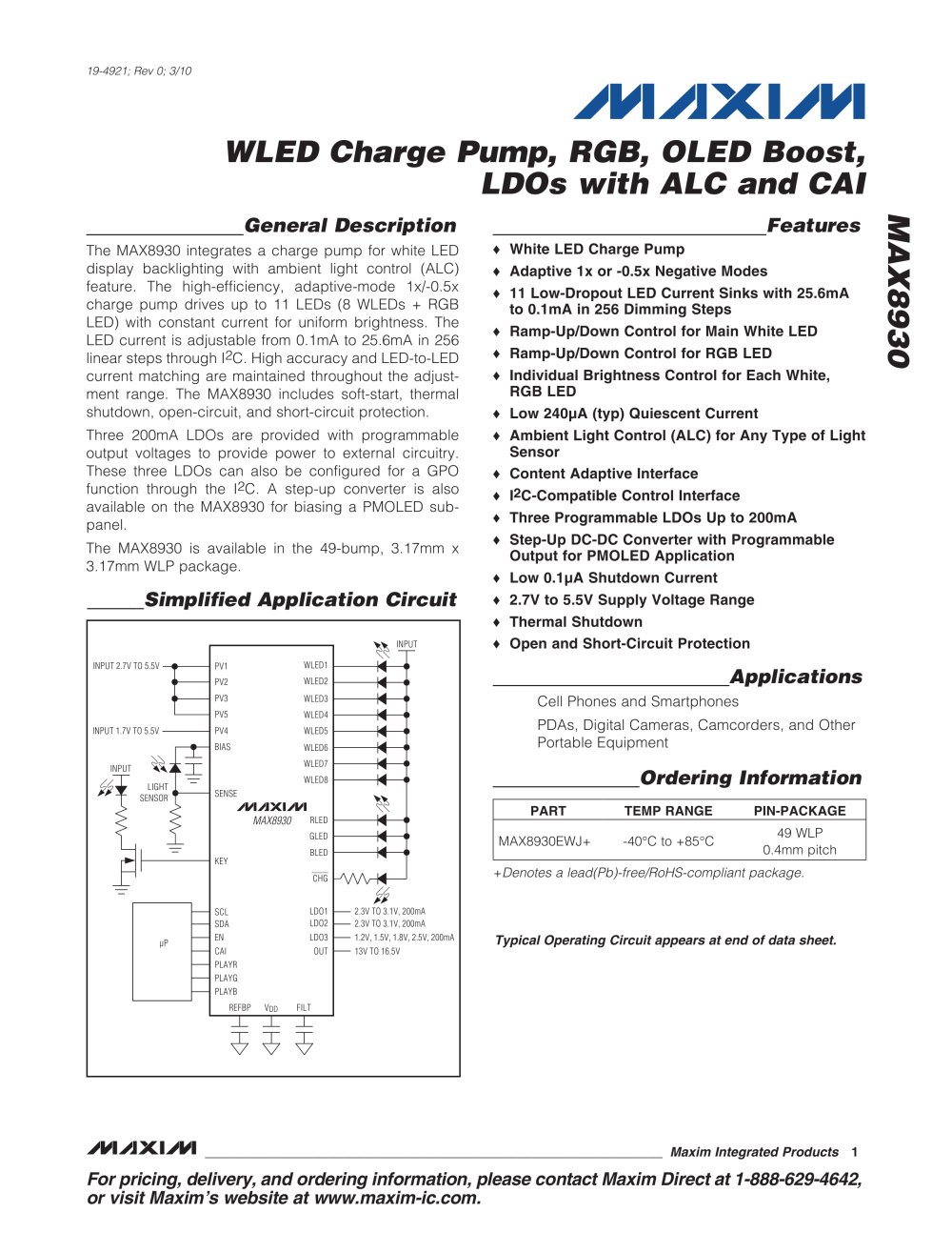 Max8930 Wled Charge Pump Rgb Oled Boost Ldos With Alc And Cai Transimpedance Amplifier Gas Station Without Pumps 1 52 Pages