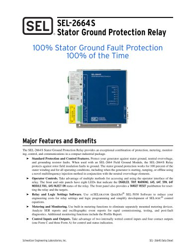 SEL-2664S Stator Ground Protection Relay