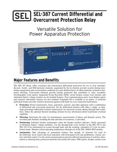 SEL-387 Current Differential and Overcurrent Protection