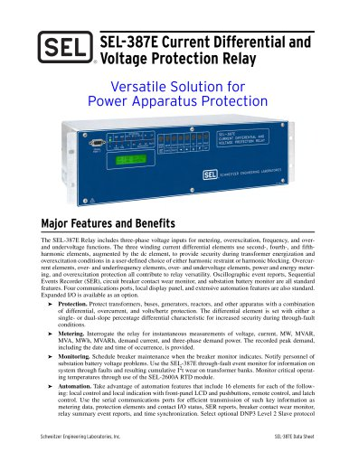 SEL-387E Current Differential and Voltage Protection Relay
