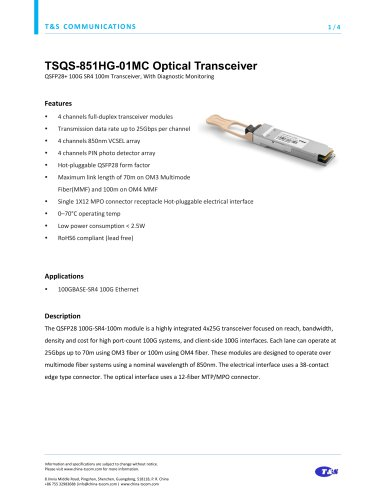 TSQS-851HG-01MC Optical Transceiver