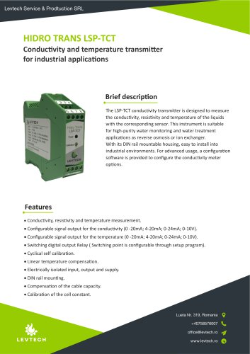 Conductivity transmitter with temperature measurement LSP-TCT