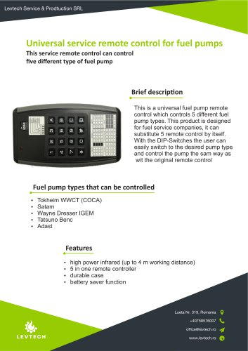 Universal service remote control for fuel pumps