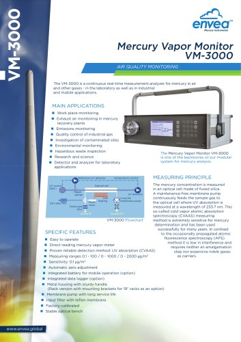 Air quality & industrial emission Mercury monitor VM3000