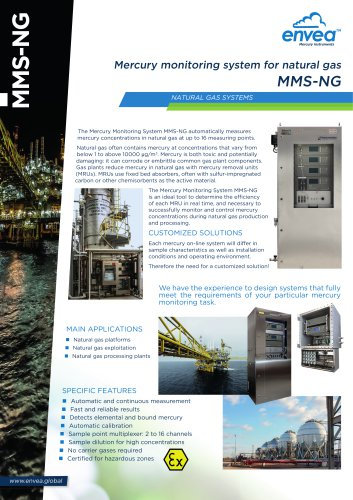 Mercury monitoring system for natural gas MMS-NG
