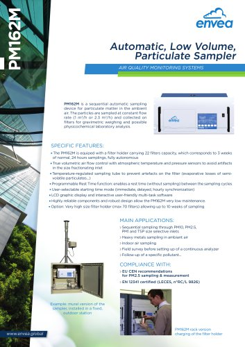 PM162M particulate automatic sampler : PM10, PM2.5, PM1, TSP particulates