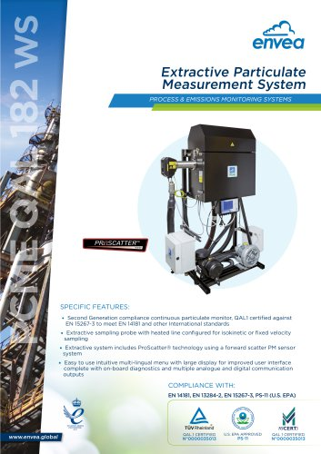 QAL 182 WS Extractive Particulate Measurement System PCME ENVEA