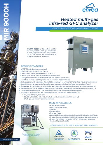 Stack emission monitoring: heated multi-gas IR-GFC analyzer MIR9000H