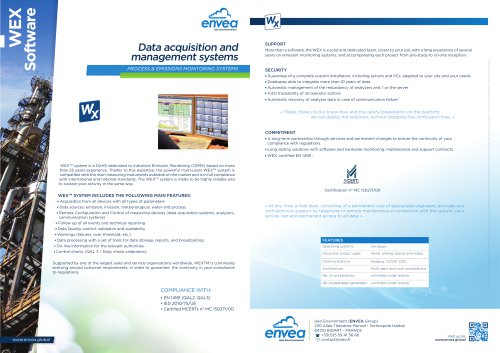 WEX-QAL1 certified-Environmental software and DAHS for Industries