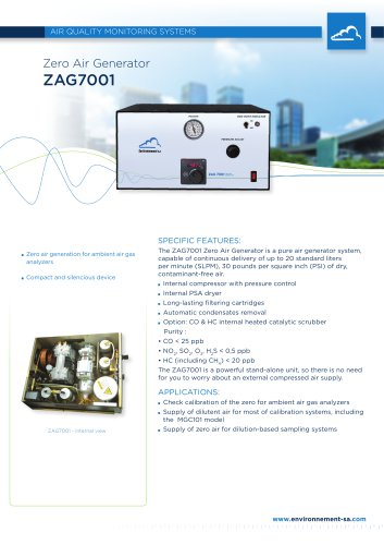 Zero air generator for pollution monitors