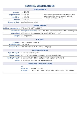 Sentinel - Galvanic Applied Sciences Inc  - PDF Catalogs