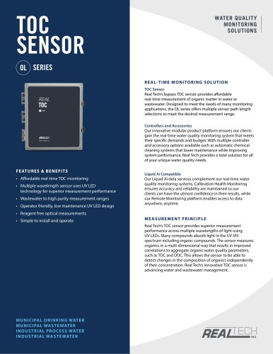 Reagentless TOC Sensor Specification Sheet - Real Tech