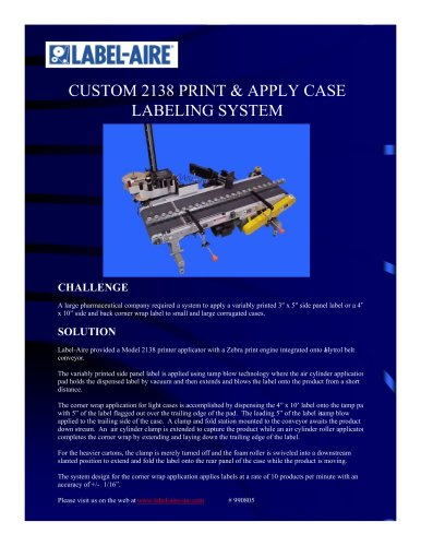 2138 Print & Apply Case Labeling System