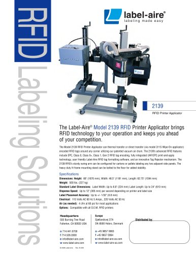 2139 RFID Printer Applicator