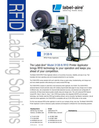 3138-N RFID Printer Applicator