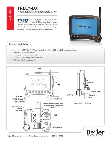 Full featured TREQ-DX mobile data terminal data sheet