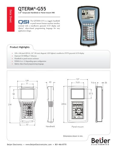 Grayscale QTERM-G55 handheld or panel-mount HMI datasheet