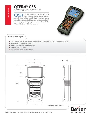 Ultra-rugged QTERM-G58 handheld graphic HMI datasheet