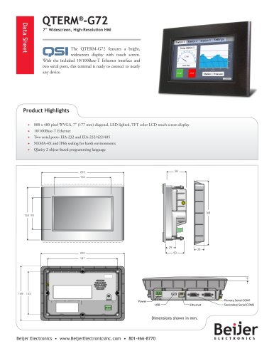 Widescreen QTERM-G72 panel-mount HMI datasheet
