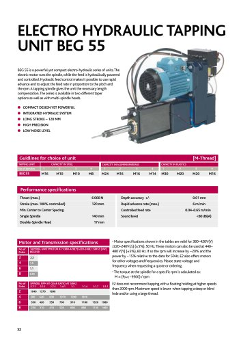 ELECTRO HYDRAULIC TAPPING UNIT BEG 55