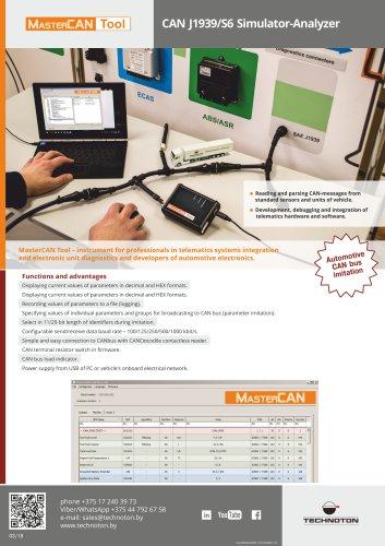 MasterCAN Tool CAN J1939/S6 Simulator-Analyzer