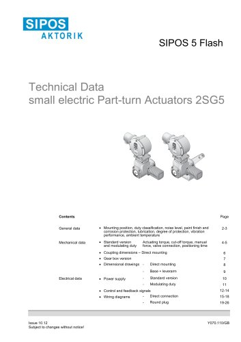 Technical Data SIPOS 5 small part-turn actuators 2SG5
