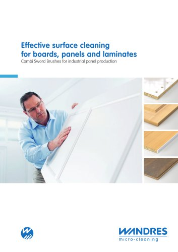 Effective surface cleaning for boards, panels and laminates | Combi Sword Brushes for industrial panel production