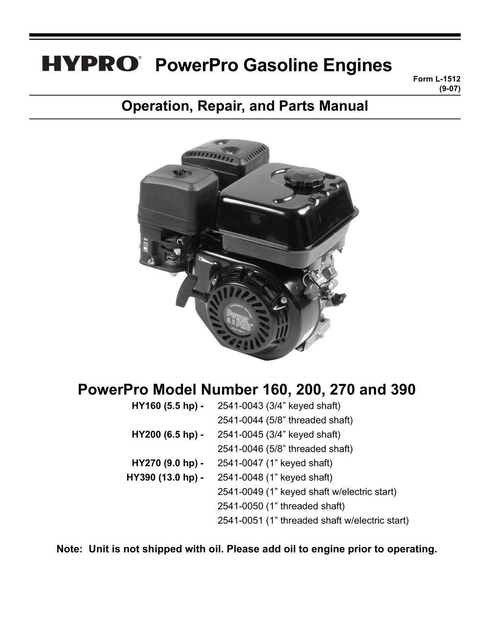 Powerpro Engine Operation Installation Parts Manual Hypro Diagram 1 28 Pages