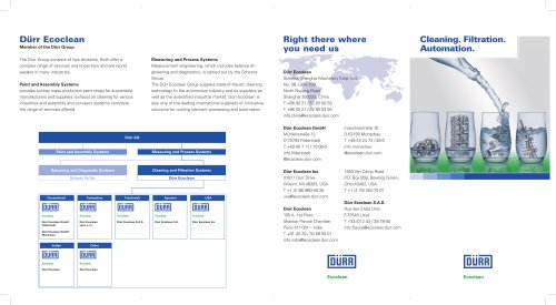 Dürr Ecoclean: Cleaning. Filtration. Automation. SUMMARY