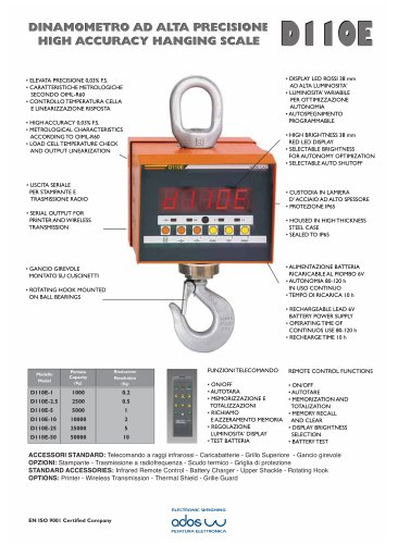 END USER PRODUCTS  HANGING SCALE D110E