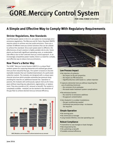 GORE™ Mercury Control System for Coal-Fired Utilities