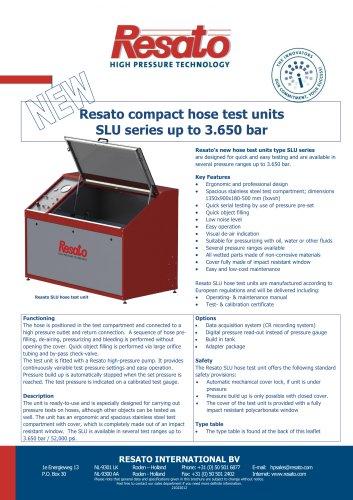 Resato compact hose test units SLU series up to 3.650 bar