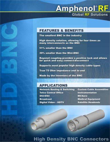 Amphenol RF  HD BNC Brochure