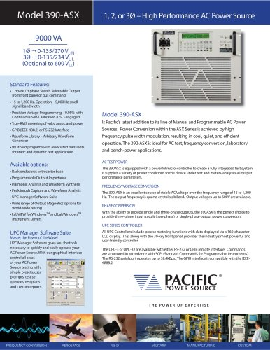 390-ASX Model (9000 VA) - High Performance AC Power Source