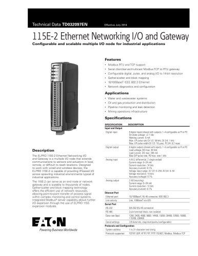 115E-2 Ethernet Networking I/O and Gateway