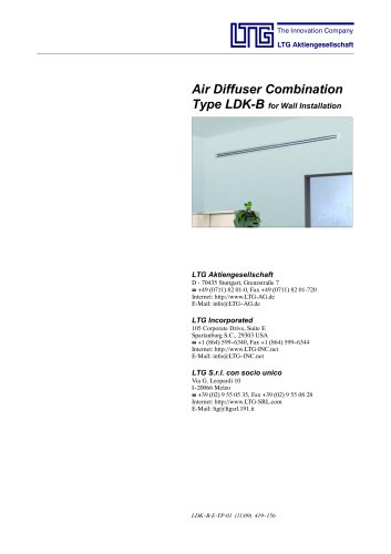 Air Diffuser Combination Type LDK-B for wall installation