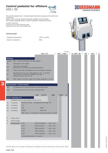 Control pedestal for offshore U22 / 32