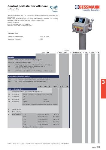 Control pedestal for offshore U23 / 23
