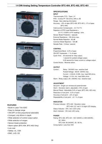 Analog Setting Temperature Controller BTC-404/402/401