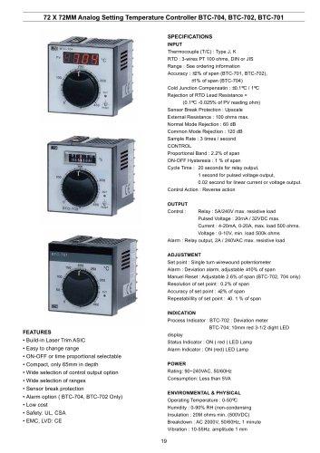 Analog Temperature Controller BTC-704/702/701
