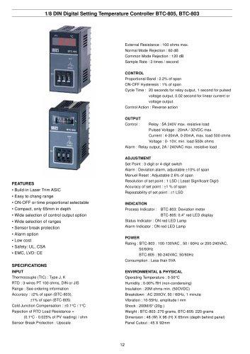 Digital Temperature Controller BTC-805/803