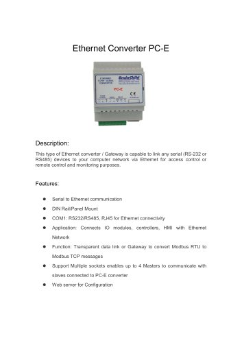 PC-E Ethernet Converter(RS-232/485 to Ethernet)