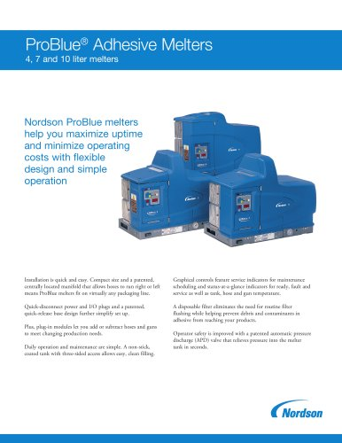 ProBlue ® Adhesive Melters 4, 7 and 10 liter melters