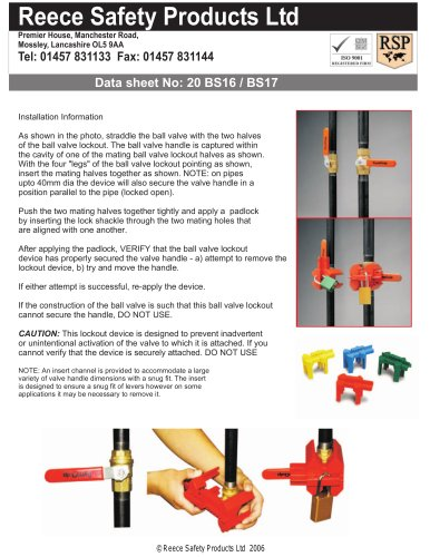BS16 / BS17 Ball Valve Lockouts