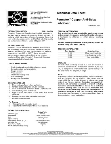 Permatex copper anti seize lubricant